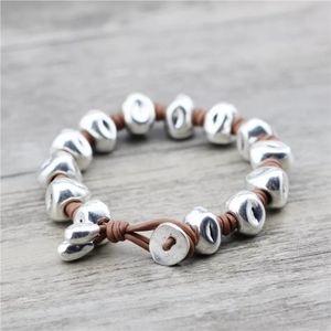 Chunky Silver Bead Leather Bracelet